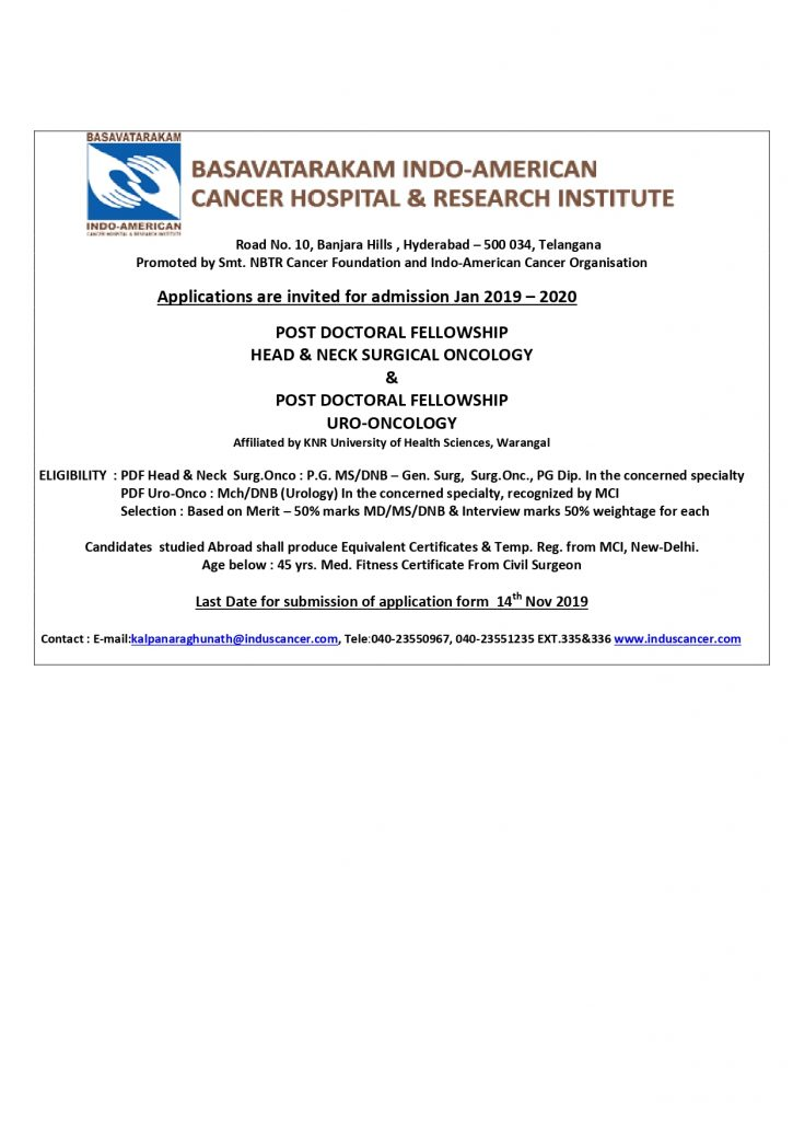 basavatarakam indo american cancer hospital and research institute post doctorial application