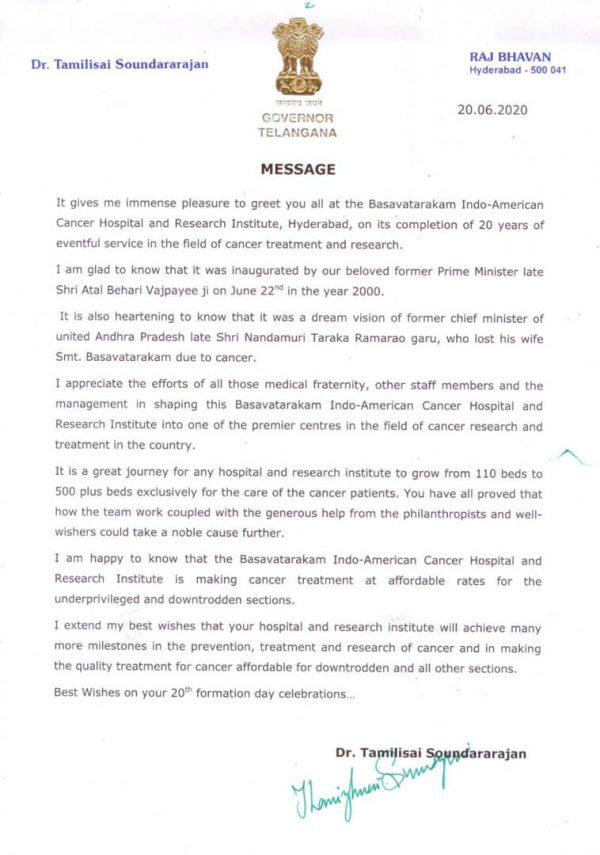 Blessing Message from Hon'ble Telangana Governor to Basavatarakam Cancer Hospital