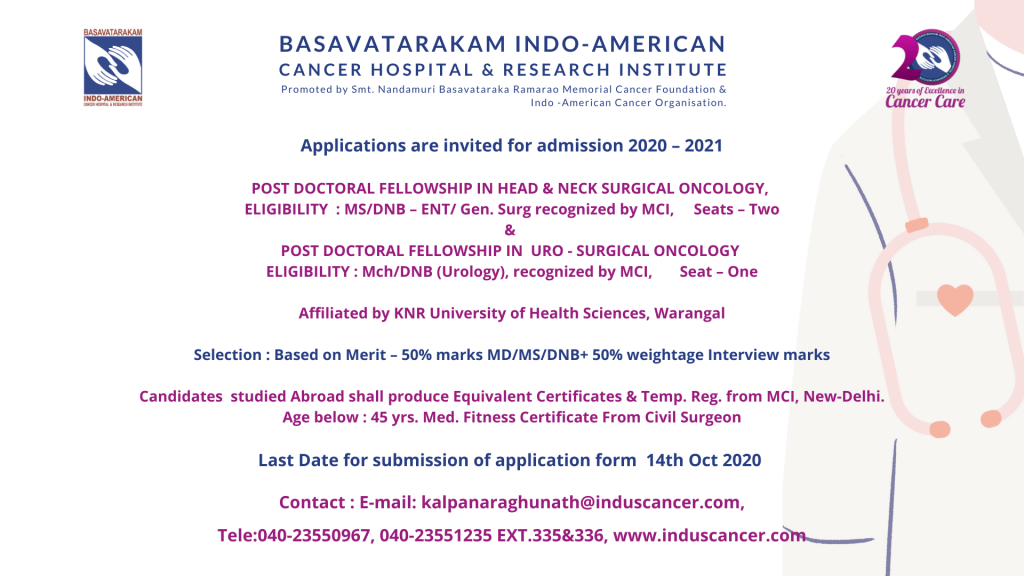 Post Doctoral Fellowship in Best Cancer Hospital in Hyderabad Basavatarakam Indo American Cancer Hospital-2