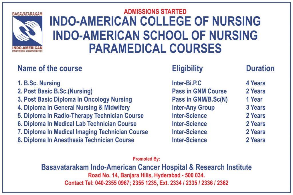 Basavatarakam Indo American Collage of Nursing Courses